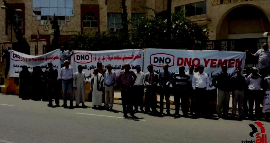 Gegen DNO protestierende Ölarbeiter in Jemen