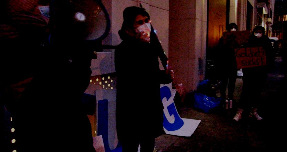 Protest vor Goldnetz gGmbH