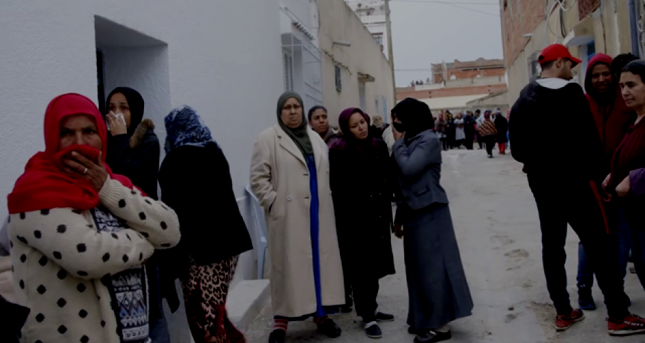 Women in the streets of Tborba Tunisia during the unrest 2018
