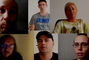 Gesichter von sechs Amazon Arbeiter_innen im Interview