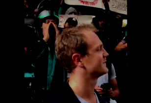 Deliveroo drivers surround Manager in front of company headquarters.