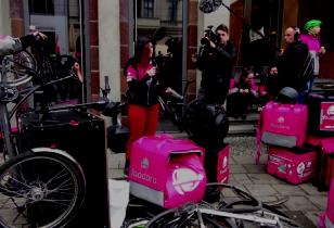 Protest vor Delivery Hero in Berlin