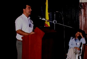 Javier Correa, Coca-Cola Arbeiter und Gewerkschafter von SINALTRAINAL Javier Correa bei seiner Aussage vor dem Tribunal Permanente de los Pueblos